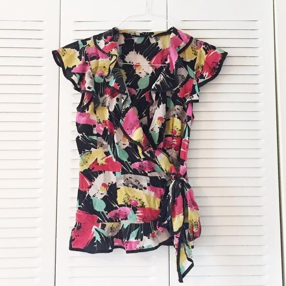 603bb529 Nanette Lepore Silk Red Pink Floral Wrap Top. M_5ac2e1a45521bebf97e572b1